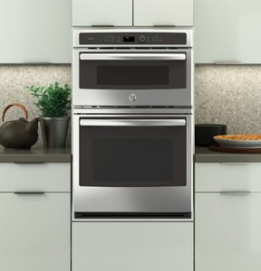 "PK7800SKSS GE Profile 27"" Built-in Combination Double Wall Oven/Microwave with Steam Self-clean option and True European Convection - Stainless Steel"