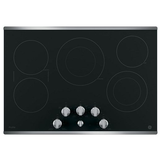 """PP7030SJSS GE Profile Series 30"""" Built-In Knob Control Electric Cooktop with 5 Radiant Elements - Black with Stainless Steel Trim"""