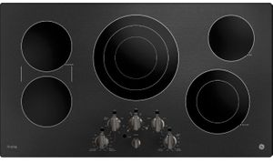 """PP7036BMTS GE Profile Series 36"""" Built-In Knob Control Cooktop with Five Cooking Elements - Black Stainless Steel"""