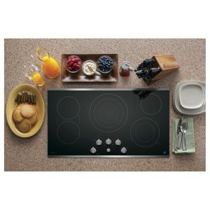 """PP7036SJSS GE Profile Series 36"""" Built-In Knob Control Cooktop with Five Cooking Elements - Black with Stainless Steel Trim"""