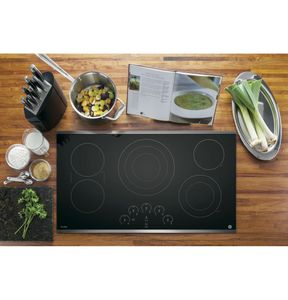"""PP9036SJSS GE Profile Series 36"""" Built-In Touch Control Cooktop with Glide Touch Controls - Black with Stainless Steel Trim"""