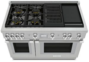 """PRD484WCHU Thermador 48"""" Pro Harmony Standard Depth Dual Fuel Range with 4 Star Burners and Grill Griddle - Stainless Steel"""