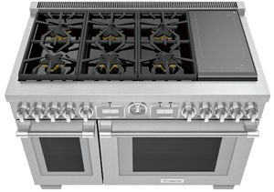 "PRD486WIGU Thermador 48"" Pro Grand Commercial Depth Dual Fuel Range with 6 Star Burners and Induction - Stainless Steel"