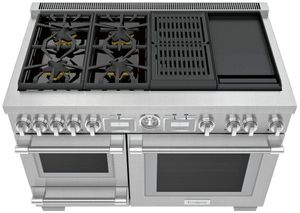"PRD48WCSGU Thermador 48"" Pro Grand Commercial Depth Dual Fuel Steam Range with Grill and Griddle - Stainless Steel"