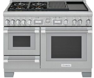 """PRD48WCSGU Thermador 48"""" Pro Grand Commercial Depth Dual Fuel Steam Range with Grill and Griddle - Stainless Steel"""