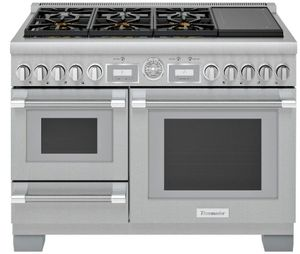 """PRD48WISGU Thermador 48"""" Pro Grand Commercial Depth Dual Fuel Range with Steam and Induction - Stainless Steel"""