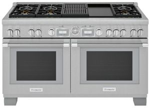"PRD606WCG Thermador 60"" Pro Grand Commercial Depth Dual Fuel Range with Grill and Griddle - Stainless Steel"