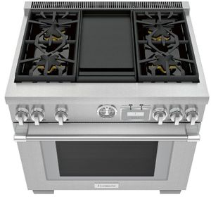 "PRG364WDG Thermador 36"" Pro Grand Commercial Depth Gas Range with 4 Star Burners and Griddle - Stainless Steel"