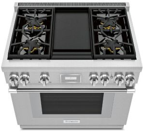 """PRG364WDH Thermador 36"""" Pro Harmony Standard Depth Gas Range with 4 Star Burners and Griddle - Stainless Steel"""