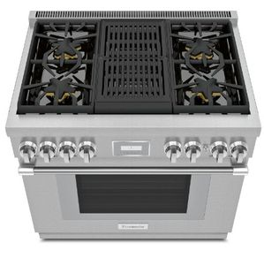 """PRG364WLH Thermador 36"""" Pro Harmony Standard Depth Range with 4 Star Burners and Grill - Stainless Steel"""
