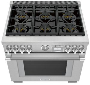 """PRG366WG Thermador 36"""" Pro Grand Commercial Depth 6 Burner Range with Precision Simmering and SoftClose Hinges - Stainless Steel - Natural Gas"""