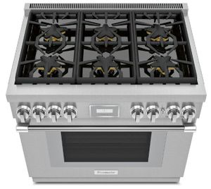 "PRG366WH Thermador 36"" Pro Harmony Standard Depth 6 Burner Range with Full Access Telescopic Racks and Convection Bake - Stainless Steel - Natural Gas"