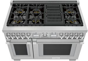 "PRG486WLG Thermador 48"" Pro Grand Commercial Depth Gas Range with 6 Star Burners and Grill - Stainless Steel"