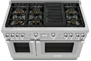 "PRG486WLH Thermador 48"" Pro Harmony Standard Depth Gas Range with 6 Star Burners and Grill - Stainless Steel"