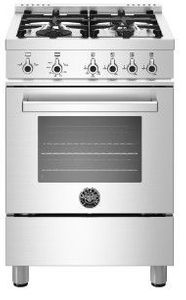 """PROF244GASXE Bertazzoni 24"""" Professional Series Free Standing 4 Burner All Gas Range with Counter Deep Main Top and Soft Motion Hinges - Stainless Steel"""