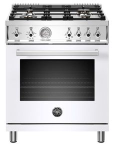 """PROF304DFSBIT Bertazzoni 30"""" Professional Series Free Standing 4 Burner Dual Fuel Range with Counter Deep Main Top and Electric Self Clean Oven - White"""
