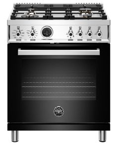 """PROF304DFSNET Bertazzoni 30"""" Professional Series Free Standing 4 Burner Dual Fuel Range with Counter Deep Main Top and Electric Self Clean Oven -Black"""