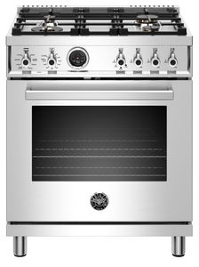"""PROF304DFSXT Bertazzoni 30"""" Professional Series Free Standing 4 Burner Dual Fuel Range with Counter Deep Main Top and Electric Self Clean Oven - Stainless Steel"""