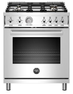 "PROF304GASXT Bertazzoni 30"" Professional Series Free Standing 4 Burner All Gas Range with Counter Deep Main Top and Smooth Glide Telescopic Rack - Stainless Steel"
