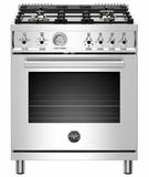 """PROF304GASXT Bertazzoni 30"""" Professional Series Free Standing 4 Burner All Gas Range with Counter Deep Main Top and Smooth Glide Telescopic Rack - Stainless Steel"""