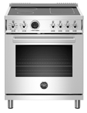 "PROF304INSXT Bertazzoni 30"" Professional Series Free Standing 4 Heat Zones Induction Range with Counter Deep Main Top and Electric Self Clean Oven - Stainless Steel"