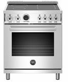 """PROF304INSXT Bertazzoni 30"""" Professional Series Free Standing 4 Heat Zones Induction Range with Counter Deep Main Top and Electric Self Clean Oven - Stainless Steel"""