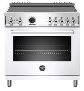 "PROF365INSBIT Bertazzoni 36"" Professional Series Free Standing 5 Heat Zones Induction Range with Counter Deep Main Top and Electric Self Clean Oven - White"