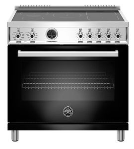 "PROF365INSNET Bertazzoni 36"" Professional Series Free Standing 5 Heat Zones Induction Range with Counter Deep Main Top and Electric Self Clean Oven - Black"