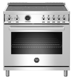 "PROF365INSXT Bertazzoni 36"" Professional Series Free Standing 5 Heat Zones Induction Range with Counter Deep Main Top and Electric Self Clean Oven - Stainless Steel"