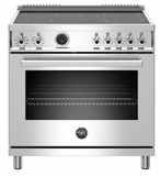 """PROF365INSXT Bertazzoni 36"""" Professional Series Free Standing 5 Heat Zones Induction Range with Counter Deep Main Top and Electric Self Clean Oven - Stainless Steel"""
