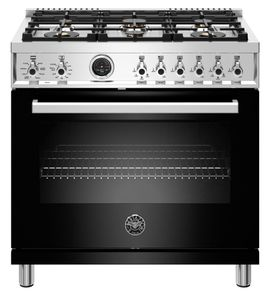 "PROF366DFSNET Bertazzoni 36"" Professional Series Free Standing 6 Burner Dual Fuel Range with Counter Deep Main Top and Electric Self Clean Oven - Black"