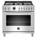 """PROF366DFSXT Bertazzoni 36"""" Professional Series Free Standing 6 Burner Dual Fuel Range with Counter Deep Main Top and Electric Self Clean Oven - Stainless Steel"""