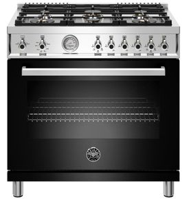 """PROF366GASNET Bertazzoni 36"""" Professional Series Free Standing 6 Burner All Gas Range with Counter Deep Main Top and Smooth Glide Telescopic Rack - Black"""