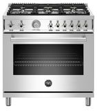 "PROF366GASXT Bertazzoni 36"" Professional Series Free Standing 6 Burner All Gas Range with Counter Deep Main Top and Smooth Glide Telescopic Rack - Stainless Steel"