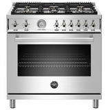 """PROF366GASXT Bertazzoni 36"""" Professional Series Free Standing 6 Burner All Gas Range with Counter Deep Main Top and Smooth Glide Telescopic Rack - Stainless Steel"""
