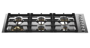 """PROF366QBXT Bertazzoni Professional Series 36"""" Drop-in Gas Cooktop 6 Brass Burners - Stainless Steel"""