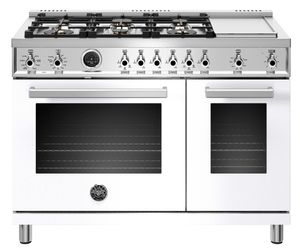 """PROF486DFSBIT Bertazzoni 48"""" Professional Series Free Standing 6 Burner Double Oven Dual Fuel Range with Griddle and Electric Self Clean Oven - White"""