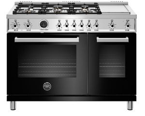 "PROF486DFSNET Bertazzoni 48"" Professional Series Free Standing 6 Burner Double Oven Dual Fuel Range with Griddle and Electric Self Clean Oven - Black"