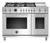 "PROF486GDFSXT Bertazzoni 48"" Professional Series Free Standing 6 Burner Double Oven Dual Fuel Range with Griddle and Electric Self Clean Oven - Stainless Steel"