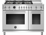 """PROF486DFSXT Bertazzoni 48"""" Professional Series Free Standing 6 Burner Double Oven Dual Fuel Range with Griddle and Electric Self Clean Oven - Stainless Steel"""