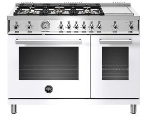 """PROF486GGASBIT Bertazzoni 48"""" Professional Series Free Standing 6 Burner Double Oven All Gas Range with Counter Deep Main Top and Griddle - White"""