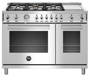 "PROF486GGASXT Bertazzoni 48"" Professional Series Free Standing 6 Burner Double Oven All Gas Range with Counter Deep Main Top and Griddle - Stainless Steel"