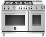"""PROF486GGASXT Bertazzoni 36"""" Professional Series Free Standing 6 Burner Double Oven All Gas Range with Counter Deep Main Top and Griddle - Stainless Steel"""