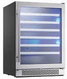 "PRW24C02AG Zephyr 24"" Presrv Dual Zone Wine Cooler with PreciseTemp and Active Cooling Technology - Stainless Steel"