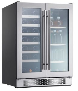 "PRWB24C32AG Zephyr 24"" Presrv Dual Zone Wine and Beverage Cooler with PreciseTemp and Active Cooling Technology - Stainless Steel"