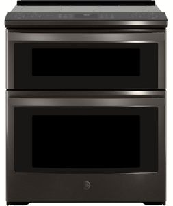 "PS960BLTS GE 30"" Profile Series Slide-In Front Control Double Oven Electric Range with WiFi Connect and True European Convection Oven - Black Stainless Steel"