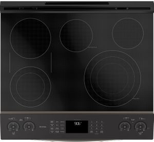 "PS960ELES GE 30"" Profile Series Slide-In Front Control Double Oven Electric Range with WiFi Connect and True European Convection Oven - Slate"