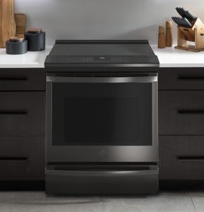 "PSS93BPTS GE 30"" Profile Smart Slide-In Electric Range with Hot Air Frying - Fingerprint Resistant Black Stainless Steel"