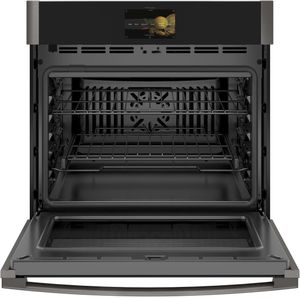 "PTS7000BNTS GE 30"" Profile Series Electric Built-In Single Wall Oven with True European Convection and Precision Cooking Modes - Black Stainless Steel"