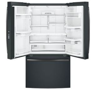 "PWE23KELDS GE Profile 36"" Counter Depth 23.1 Cu. Ft. French Door Refrigerator with Internal Water Dispenser - Black Slate"